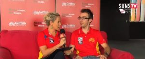Dr. Doyle being interviewed live on the big screen at the GC Suns vs. GWS Giants game, Round 23, 2013